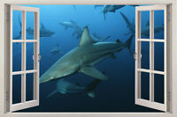 Shark animal Sunset 3D Window View Removable Wall Art Sticker Decal Home Decor
