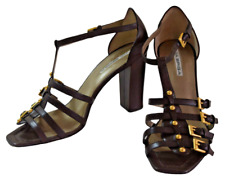 VIA SPIGA T-Strap Womens Ankle Strap Brown Leather Heel Sandals 8 M