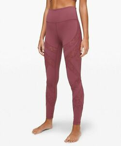 "Lululemon Wunder Under High Rise Tight Flocked Plumful  28"" Leggings Womens $128"