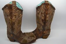 New Corral Ladies' Honey Embroidery Brass Studded Cowboy Boots E 1274 9 M $299