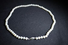 BN white REAL freshwater pearls necklace with silver 925 clasp *sale