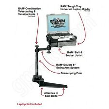 RAM-VB-185-SW1 No-Drill Laptop Mount for the Ford F-250, F-350, F-450, F-550+