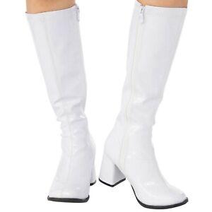 White Gogo Girl Boots Womens 1960s 1970s Mod Girl Retro Costume Accessory