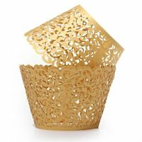12X Filigree Vine Cake Cupcake Wrappers Wraps Cases Wedding Decorations Gold BT
