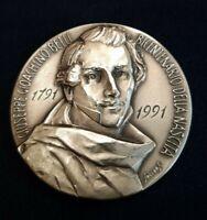 Medaglia in argento 986% BICENTENARIO NASCITA G.G.BELLI 1991 Inc. Soccorsi IPZS