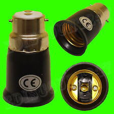 Bayonet BC B22 to Edison ES E27 BLACK Adaptor Socket Converter Holder UK SELLER.