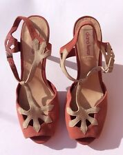 Diana Ferrari, BrandNew Salmon & Cream Leather, Open Toe Medium Heels, Size: 6.5