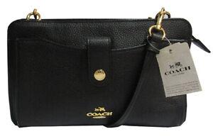 Coach Women`s Pop-Up Messenger Bag In Polished Pebble Leather Black Msrp:$198.00