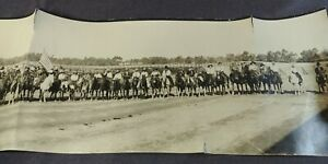 1923 Elk Rodeo Bakersfield California Panorama Photo Cowboy Cowgirl Clown Monkey