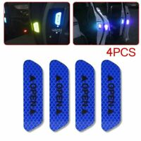 4Pcs Universal Car Door Open Sticker Reflective Tape Safety Warning Decal Blue