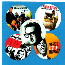 5 ROCK'N'ROLL  BADGES. BUDDY HOLLY, GENE VINCENT, CHUCK BERRY, LITTLE RICHARD +1