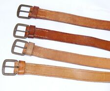 Ex-army leather belt tan or brown utility strap metal buckle genuine 3-4mm thick