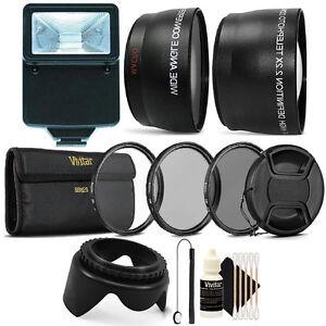 55mm Complete Lens Accessory Kit + Slave Flash for Nikon D5500, D3300, D3400