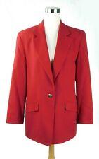 Talbots Size 14 100% Wool Red Suit Blazer Jacket Perfect Condition!
