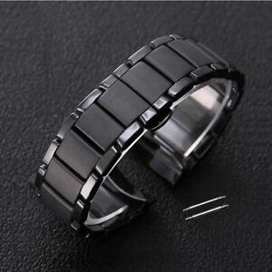Ceramic Black Watchstrap/Band Fit for Armani AR1451 AR1452 AR1410 AR1400 + Tools