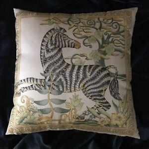 "Rare! VTG Salvatore Ferragamo Jungle Zebra 100% Silk Throw Pillow 16""x16"""