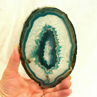 Teal Green Agate Slice with Quartz Crystal Extra Large Polished Geode Slice 16cm