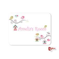 CUTE BIRD DESIGN PERSONALISED GIRL'S NAME BEDROOM / PLAYROOM PLAQUE - Any Name