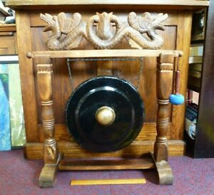 "Large Metal Gong 14"" & carved wooden dragon Stand Oriental Meditation Festival"