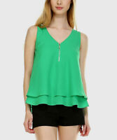Sleeveless Blouse Size 12 Green Vest Top Ladies Womens With V Neck Zipped Front