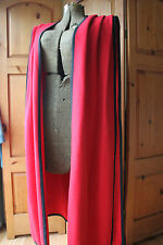Vintage Red Wool Open Vest Cape Long Black Trim
