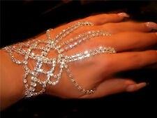 Sexy Hand Glove 3 fingers of drapes Bracelet rhinestones  Sterling Silver sep