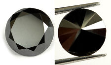 2,55 ct Jet Black Natural Diamond - Excellent Brilliant cut - Opaque