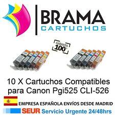 10X COMPATIBLE NON OEM CANON PIXMA MG5120 MG5140 MG5150 Pgi525 Cli-526 CON CHIP