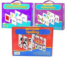 Set Of 3 Kids Match It  Puzzle Cards Educational Learning Set Spell Maths colour