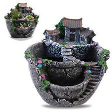 OULII Plants Pot Creative Plants Pot Mini Fairy Garden and Sweet House for Decor