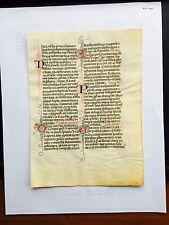 Illuminated vellum manuscript leaf medieval breviary, c. 1300-25 France