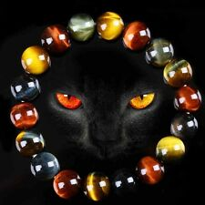 Natural Colorful Tiger's Eye Stone Round Beads Stretchy Bracelet Bangle Gift 10mm#colorful