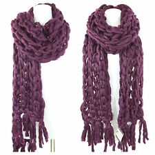Handmade Aubergine Wine Heavy Chunky Sweater Yarn Super Soft Cable Knit Scarf B1
