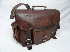 "16x12"" Leather DSLR Camera Briefcase Messenger Bag Laptop Satchel Shoulder Bag"