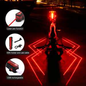 Bicycle Road Bike Cycling Red Laser Beam 5 LED Rear Tail Light Safety Back Lamp