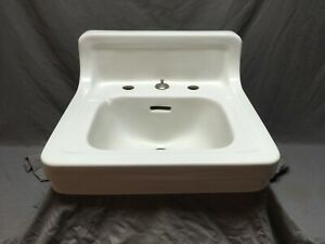 Vtg Mid Century Ceramic White Porcelain Bath Wall Sink Old Standard 157-21E