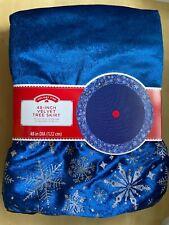 Blue Velvet Sparkle Christmas Tree Skirt 48 Inch Holiday Decor
