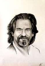 Jeff Bridges - ritratto portrait grafite e carboncino cm. 33 x 48