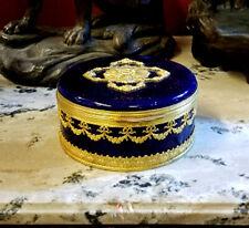 SALE !! ANTIQUE COBALT BLUE & BRONZE SEVRES MP JEWELRY BOX
