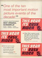 """1970 RARE """"EASY RIDER"""" 'Best Original Screenplay' OSCAR NOM PR AD"""