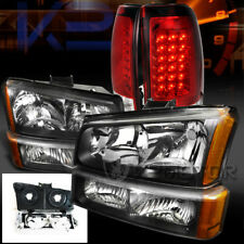2003-2006 Chevy Silverado Black Headlights+Bumper Lamps+Red Lens Led Tail Lights