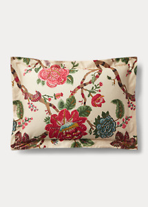 Two (2) Ralph Lauren Teagan King Size Pillow Shams Red Floral Multi New in Pkg