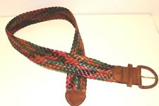 Large Wide Handmade Dye Braided Leather Guatemalan Weave Colorful 1990's Belt