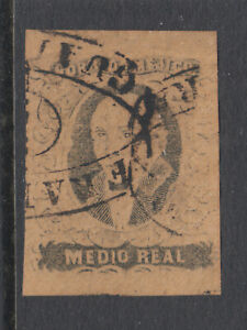 Mexico Sc 6a used. 1861 ½r black on buff Hidalgo without overprint, sound.