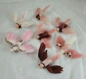 Lot of 7 vintage feather bird ornaments, wire on, pink, roses, Victorian look