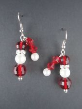 Weihnachten Weihnachts Ohrringe Ohrhänger Hänger Weihnachtsmann Perlen 9177 NEU