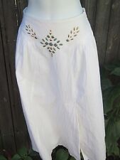 Womens Long White Southwestern Prairie skirt w turquoise stones and gold detail