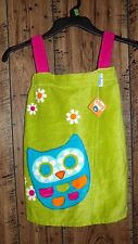 "NWT LITTLE GIRL'S GREEN WITH OWL SWIMSUIT COVER UP WRAP TOWEL "" CHIRP"""