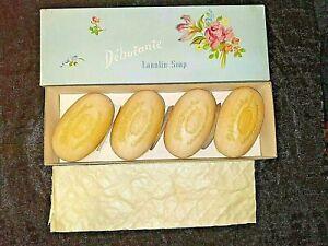 Vtg 1940's 1950 's Debutante Lanolin Soap lot of 4 w Box NOS Fuller Brush Rose