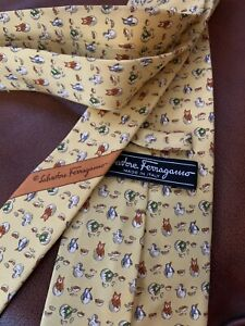 salvatore ferragamo Yellow Gold Printed Tie 58 X 3.75